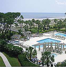 An aerial photo showing pool at Hampton Place in Hilton Head - HHI
